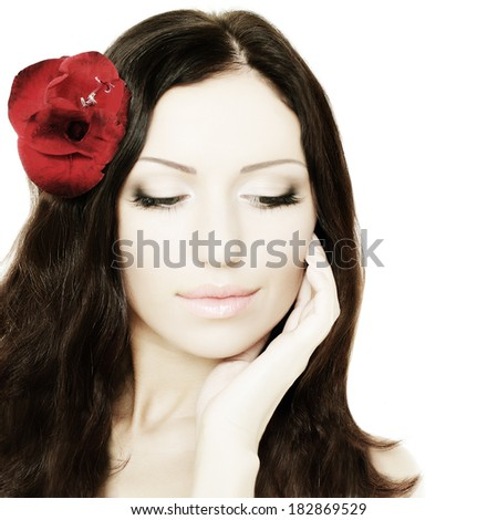 Beautiful woman, portrait - stock photo