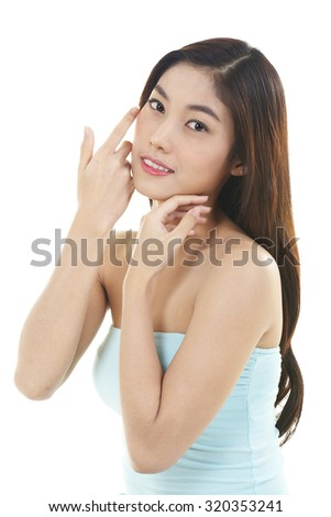 Beautiful woman portrait face studio on white background