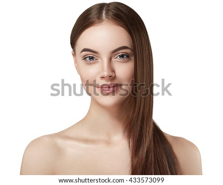 Beautiful woman portrait face with long healthy hair studio isolated on white