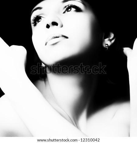 Beautiful woman portrait. Fashion art photo - stock photo