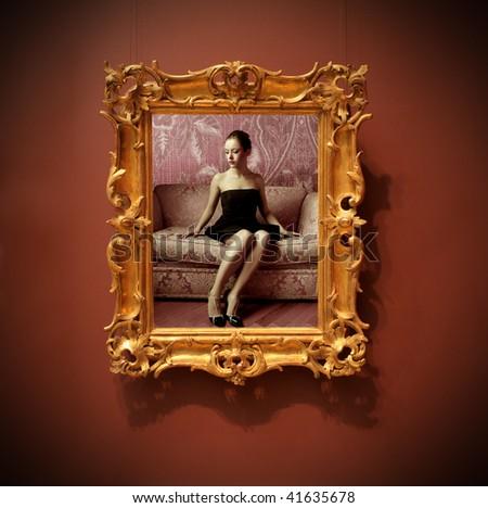 beautiful woman portrait framed - stock photo