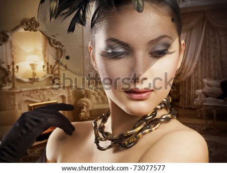 Beautiful Woman Portrait in Classic Interior - stock photo