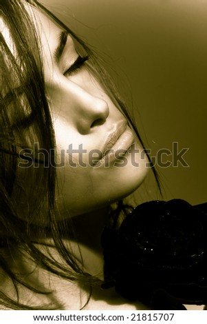 beautiful woman portrait in duo colors - stock photo