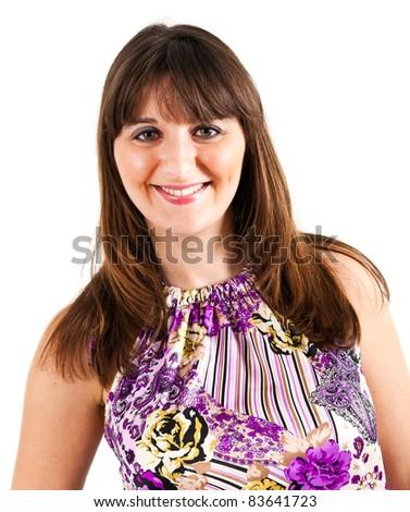 Beautiful woman portrait isolated on white - stock photo