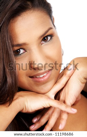 beautiful woman portrait isolated over a white background