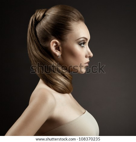 Beautiful Woman Portrait. Long Brown Hair - stock photo