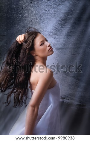 beautiful woman portrait on fantasy background - stock photo