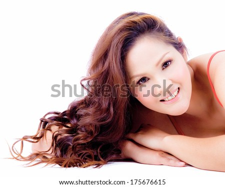 Beautiful  woman portrait on white background