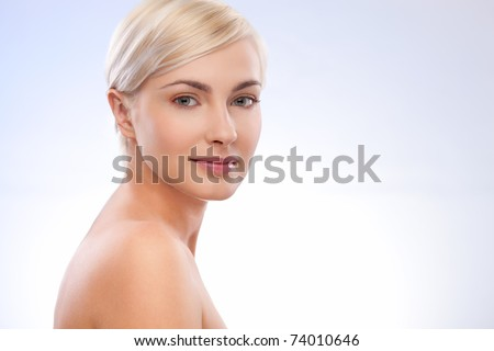 beautiful woman portrait over blue white