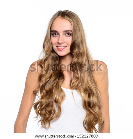 Beautiful woman portrait smiling isolated on white background - stock photo