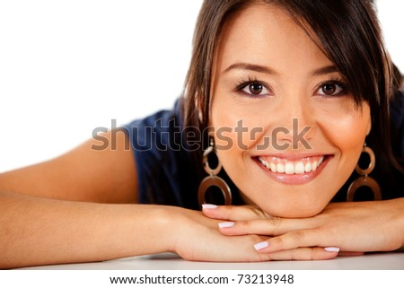 Beautiful woman portrait smiling ? isolated over a white background