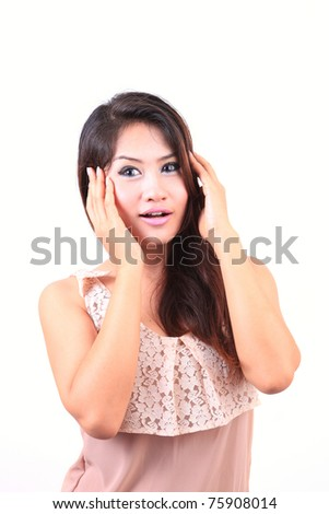 Beautiful woman portrait smiling isolated over a white background - stock photo