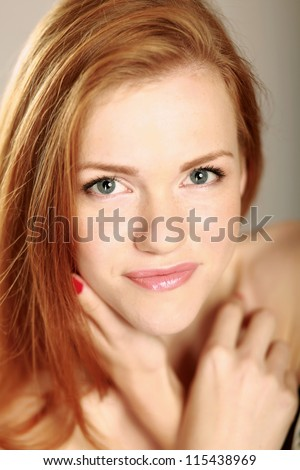 Beautiful woman portrait smiling isolated over white