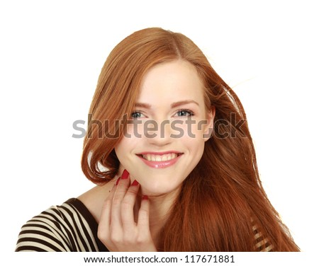 Beautiful woman portrait smiling isolated over white - stock photo