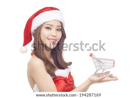 Beautiful woman portrait with Christmas concept, smiling woman, happiness concept - stock photo