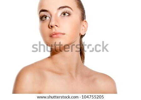 beautiful woman portrait with naked shoulders over white background