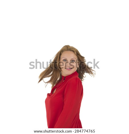 Beautiful woman posing against a white background - stock photo