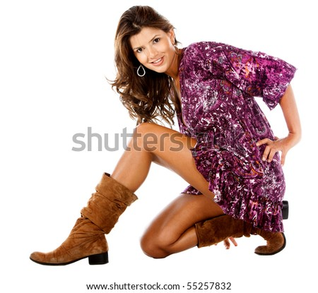 Beautiful woman posing and smiling - isolated over a white background - stock photo