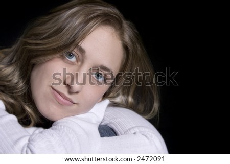 Beautiful woman posing casual - stock photo