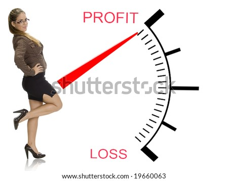 beautiful woman posing near profit loss meter on an isolated white background - stock photo