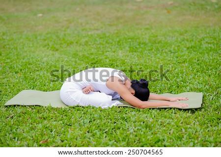beautiful woman practicing yoga in the parklotus