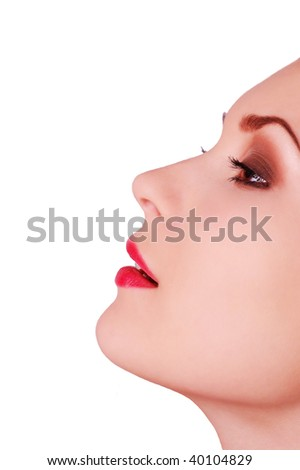 Beautiful woman profile isolated on white - stock photo