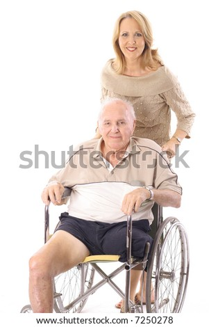 beautiful woman pushing handicap man vertical - stock photo