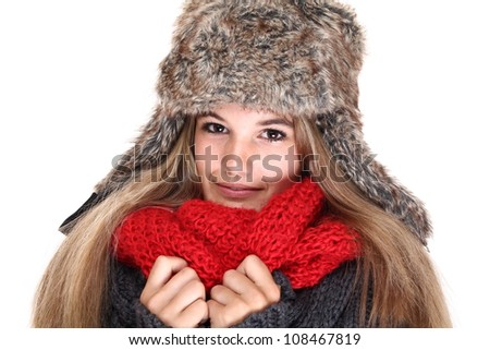 Beautiful woman ready for the winter - stock photo