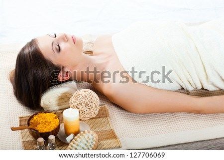 beautiful woman receiving spa procedures - stock photo