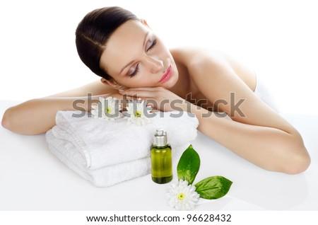 Beautiful woman relaxing in a spa - stock photo
