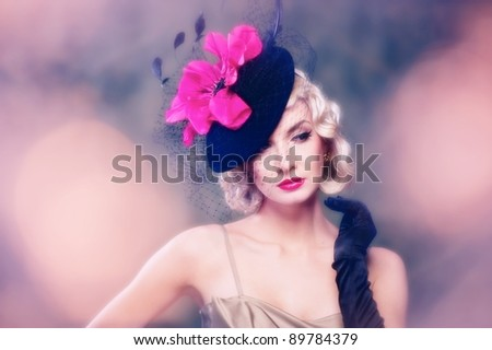 Beautiful woman retro style. - stock photo