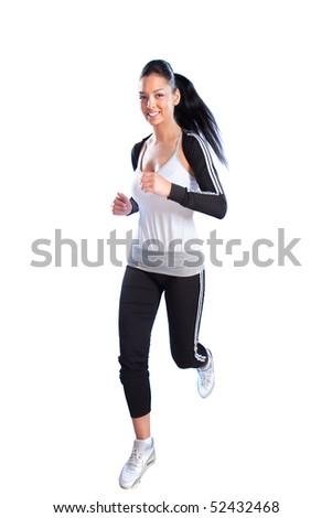 Beautiful woman running,studio shot - stock photo