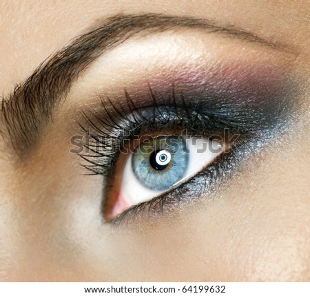 Beautiful Woman's Eye.Makeup - stock photo