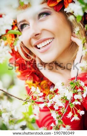 Beautiful woman's face - stock photo