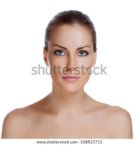 Beautiful woman's face with tan. clean skin - isolated on white - stock photo