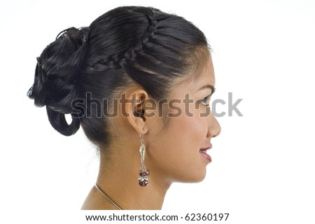 beautiful woman's hairstyle - portrait in profile, isolated on white background - stock photo