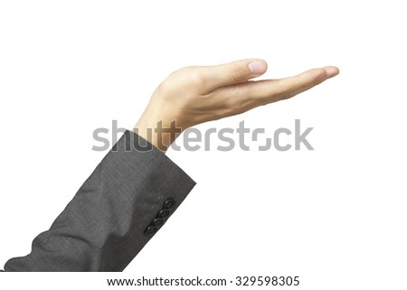 Beautiful woman's hand in business suit sleeves and palm up in white isolated background. - stock photo