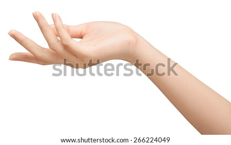 beautiful woman's hand isolated on white background