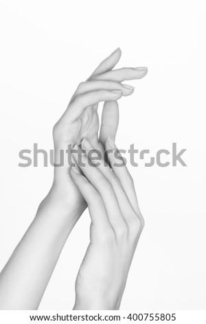 beautiful woman's hands - stock photo