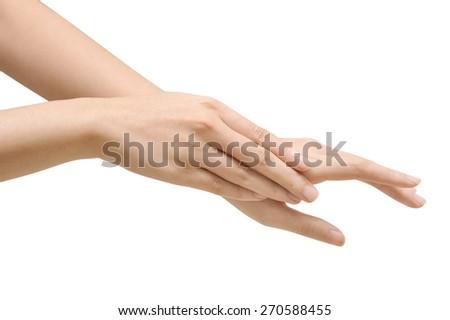 beautiful woman's hands isolate, applying cream, massaging - stock photo