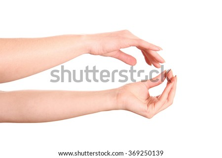 Beautiful woman's hands on white background. - stock photo