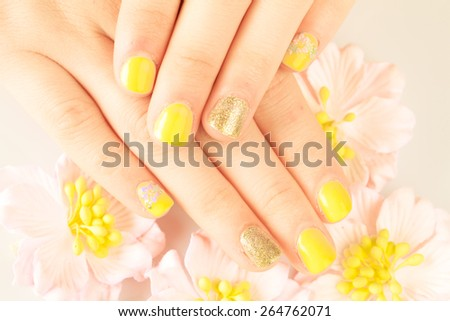 Beautiful woman's nails with beautiful manicure. studio shot - stock photo