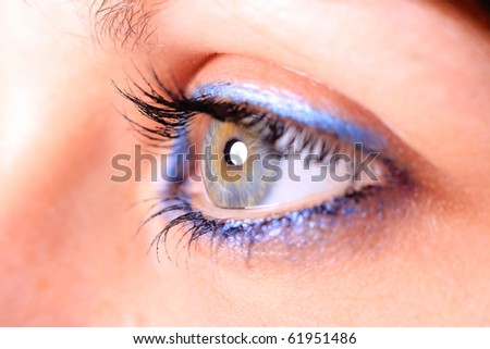 beautiful woman`s open eye - stock photo