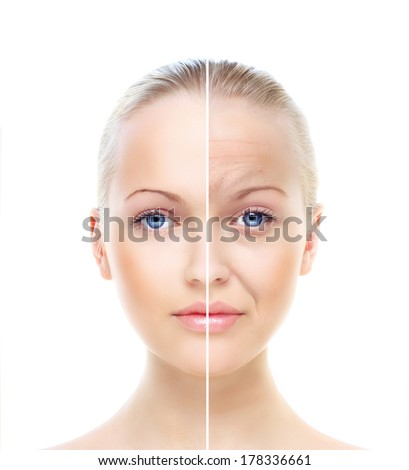 Beautiful woman's portrait isolated on white, before and after retouch, beauty treatment, skin care concept. - stock photo