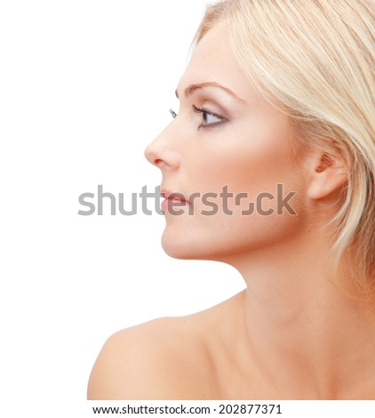 Beautiful woman's profile - stock photo