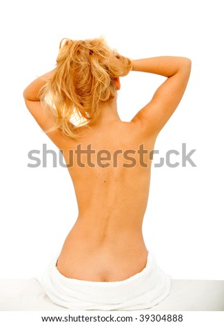 Beautiful woman's torso isolated over a white background - stock photo