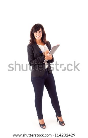 Beautiful woman scheduling an appointment - stock photo
