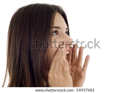 Beautiful woman screaming  isolated over white, a lot of copyspace.
