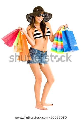 beautiful woman shopping bags isolated over a white background - stock photo