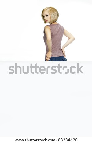 beautiful woman show for white background